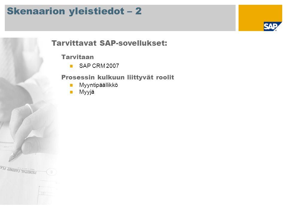 Skenaarion yleistiedot – 2 Tarvitaan SAP CRM 2007 Prosessin kulkuun liittyvät roolit Myyntipäällikkö Myyjä Tarvittavat SAP-sovellukset: