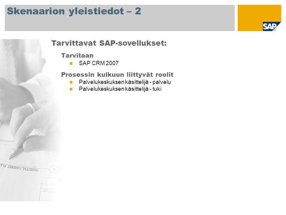 Skenaarion yleistiedot – 2 Tarvitaan SAP CRM 2007 Prosessin kulkuun liittyvät roolit Palvelukeskuksen käsittelijä - palvelu Palvelukeskuksen käsittelijä - tuki Tarvittavat SAP-sovellukset: