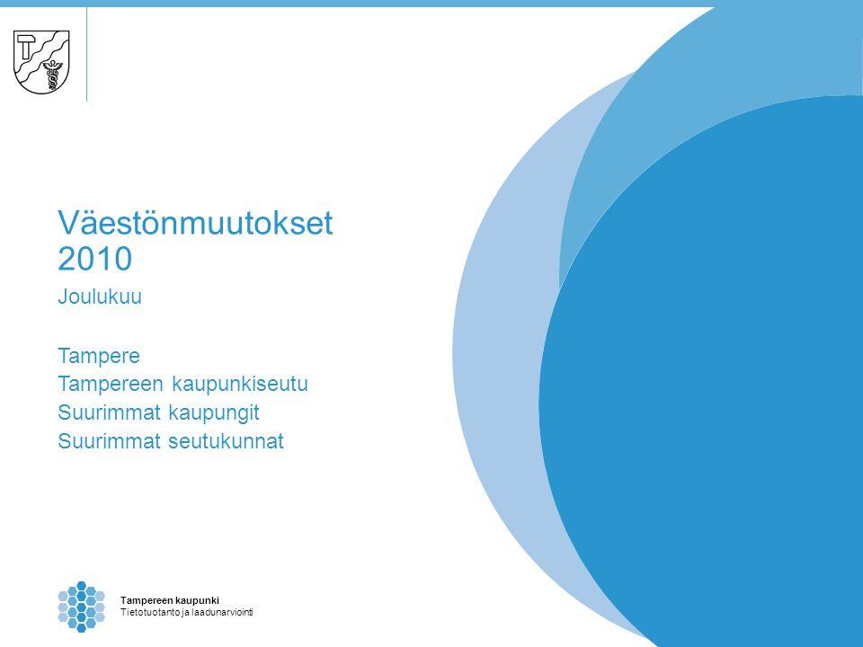 Tampereen kaupunki Tietotuotanto ja laadunarviointi Väestönmuutokset 2010 Joulukuu Tampere Tampereen kaupunkiseutu Suurimmat kaupungit Suurimmat seutukunnat