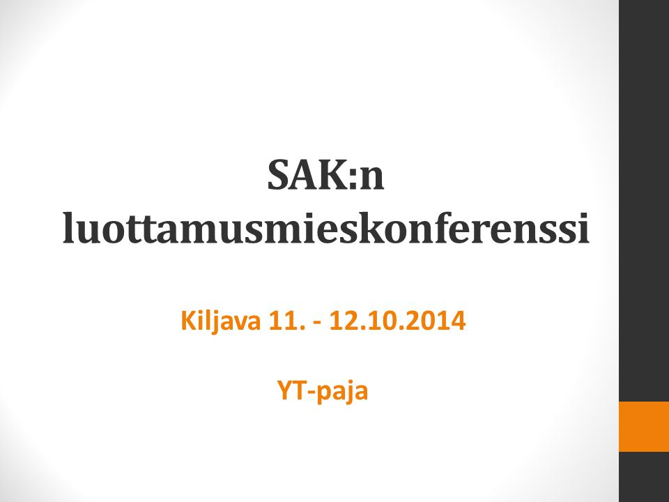 SAK:n luottamusmieskonferenssi Kiljava 11. - 12.10.2014 YT-paja