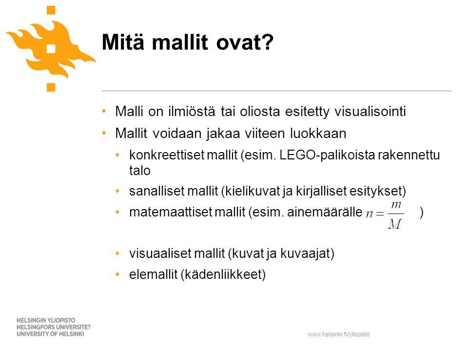 www.helsinki.fi/yliopisto Malli on ilmiöstä tai oliosta esitetty visualisointi Mallit voidaan jakaa viiteen luokkaan konkreettiset mallit (esim.