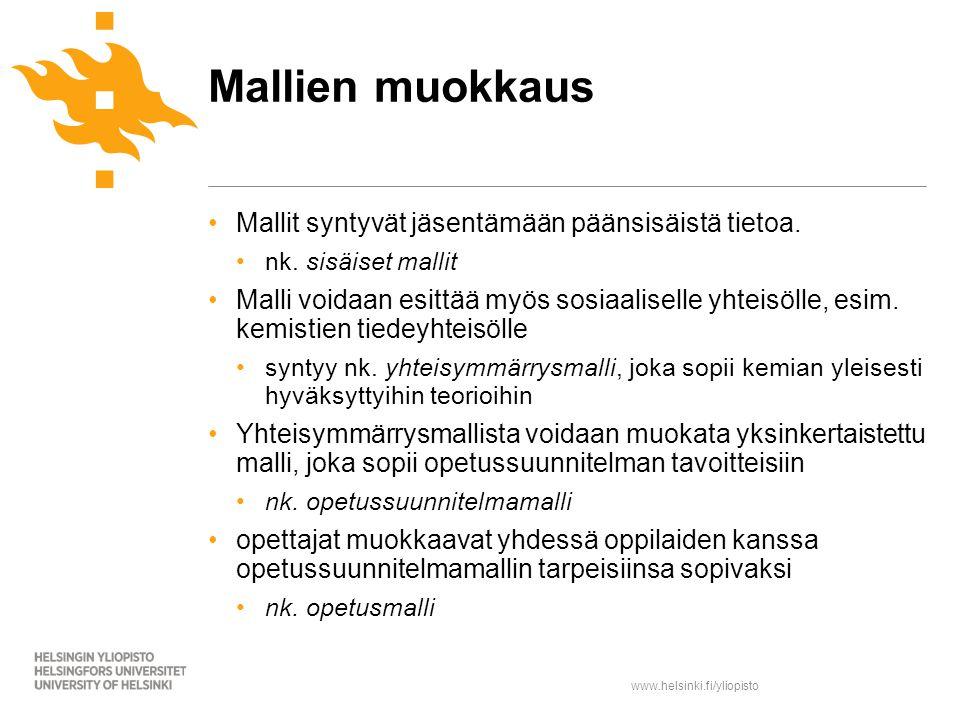 www.helsinki.fi/yliopisto Mallit syntyvät jäsentämään päänsisäistä tietoa.