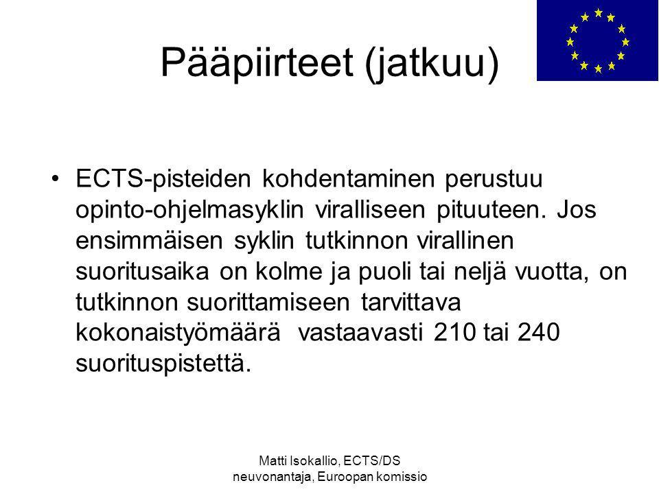 Matti Isokallio, ECTS/DS neuvonantaja, Euroopan komissio Pääpiirteet (jatkuu) ECTS-pisteiden kohdentaminen perustuu opinto-ohjelmasyklin viralliseen pituuteen.