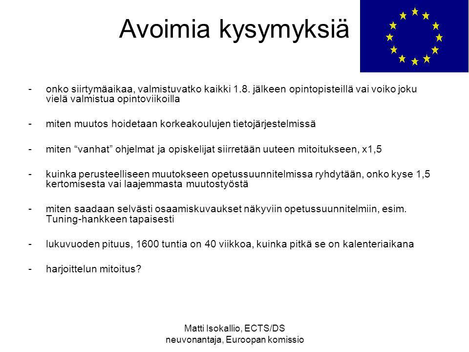 Matti Isokallio, ECTS/DS neuvonantaja, Euroopan komissio Avoimia kysymyksiä -onko siirtymäaikaa, valmistuvatko kaikki 1.8.