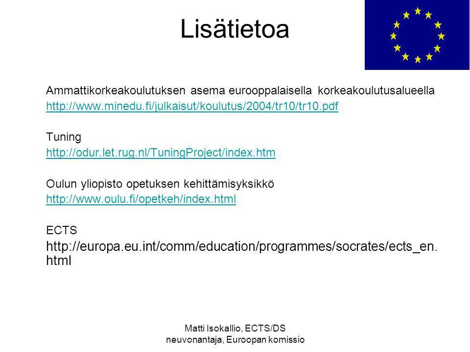 Matti Isokallio, ECTS/DS neuvonantaja, Euroopan komissio Lisätietoa Ammattikorkeakoulutuksen asema eurooppalaisella korkeakoulutusalueella http://www.minedu.fi/julkaisut/koulutus/2004/tr10/tr10.pdf Tuning http://odur.let.rug.nl/TuningProject/index.htm Oulun yliopisto opetuksen kehittämisyksikkö http://www.oulu.fi/opetkeh/index.html ECTS http://europa.eu.int/comm/education/programmes/socrates/ects_en.