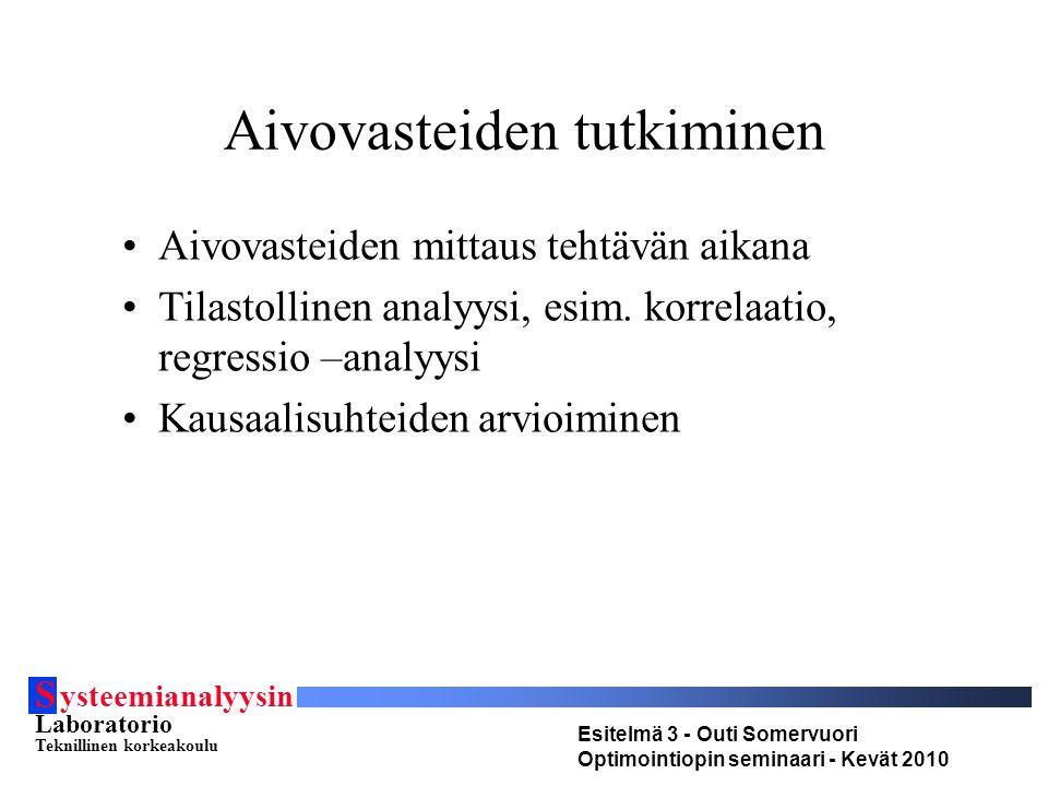 S ysteemianalyysin Laboratorio Teknillinen korkeakoulu Esitelmä 3 - Outi Somervuori Optimointiopin seminaari - Kevät 2010 Aivovasteiden tutkiminen Aivovasteiden mittaus tehtävän aikana Tilastollinen analyysi, esim.
