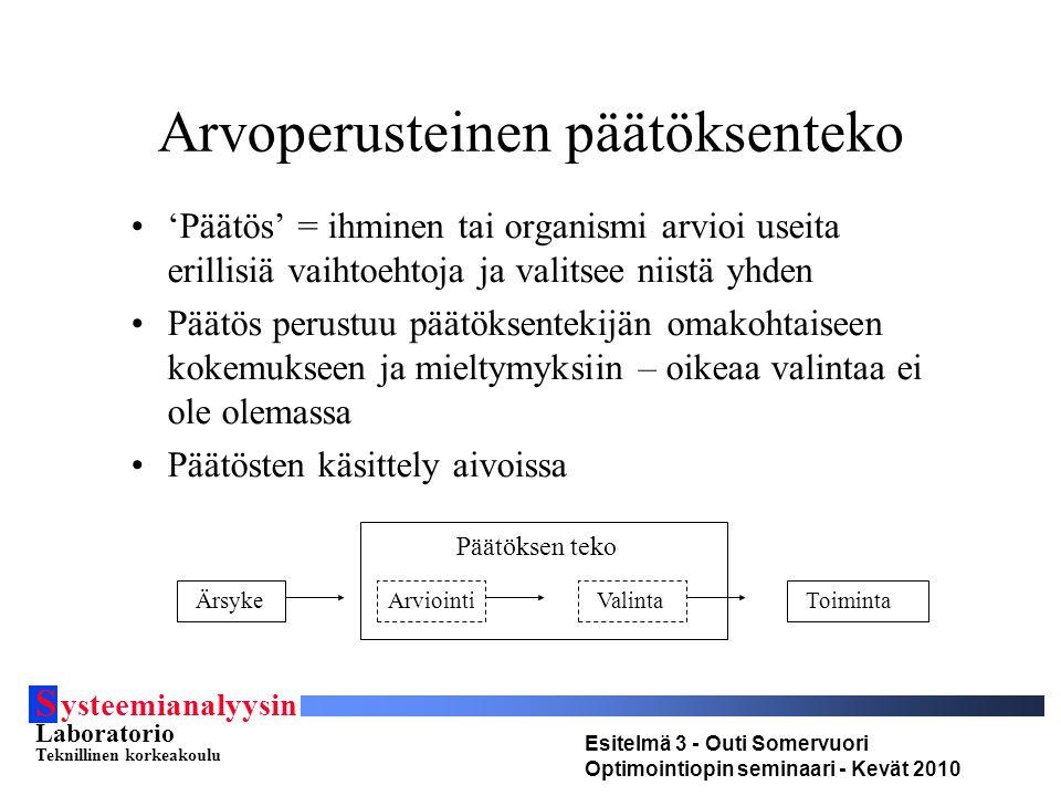 S ysteemianalyysin Laboratorio Teknillinen korkeakoulu Esitelmä 3 - Outi Somervuori Optimointiopin seminaari - Kevät 2010 Arvoperusteinen päätöksenteko 'Päätös' = ihminen tai organismi arvioi useita erillisiä vaihtoehtoja ja valitsee niistä yhden Päätös perustuu päätöksentekijän omakohtaiseen kokemukseen ja mieltymyksiin – oikeaa valintaa ei ole olemassa Päätösten käsittely aivoissa ÄrsykeArviointiValintaToiminta Päätöksen teko
