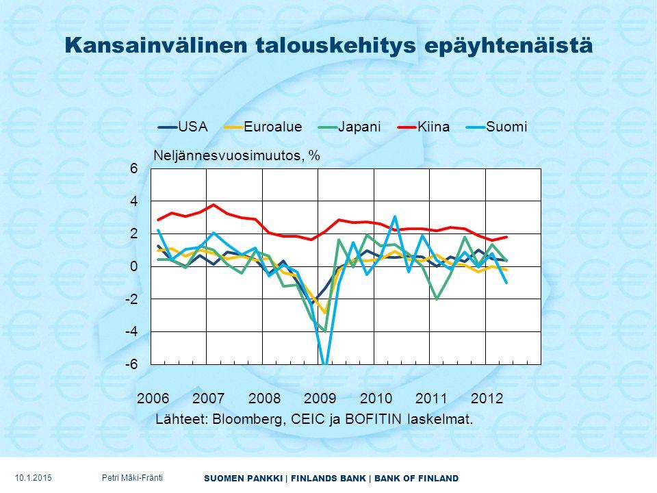 SUOMEN PANKKI | FINLANDS BANK | BANK OF FINLAND Kansainvälinen talouskehitys epäyhtenäistä 10.1.2015Petri Mäki-Fränti