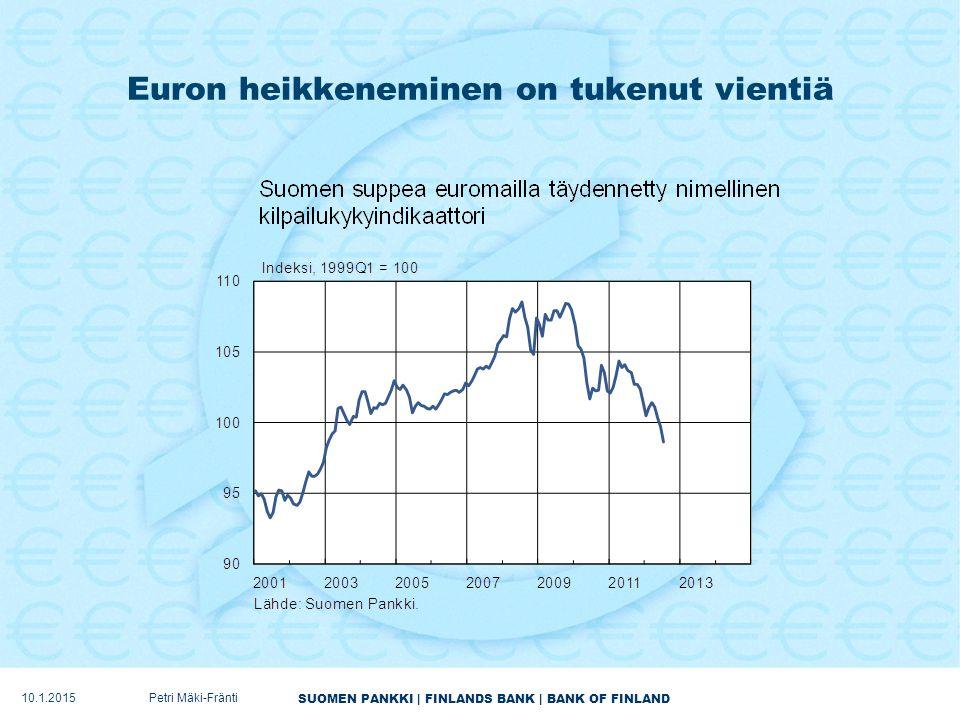 SUOMEN PANKKI | FINLANDS BANK | BANK OF FINLAND Euron heikkeneminen on tukenut vientiä 10.1.2015Petri Mäki-Fränti