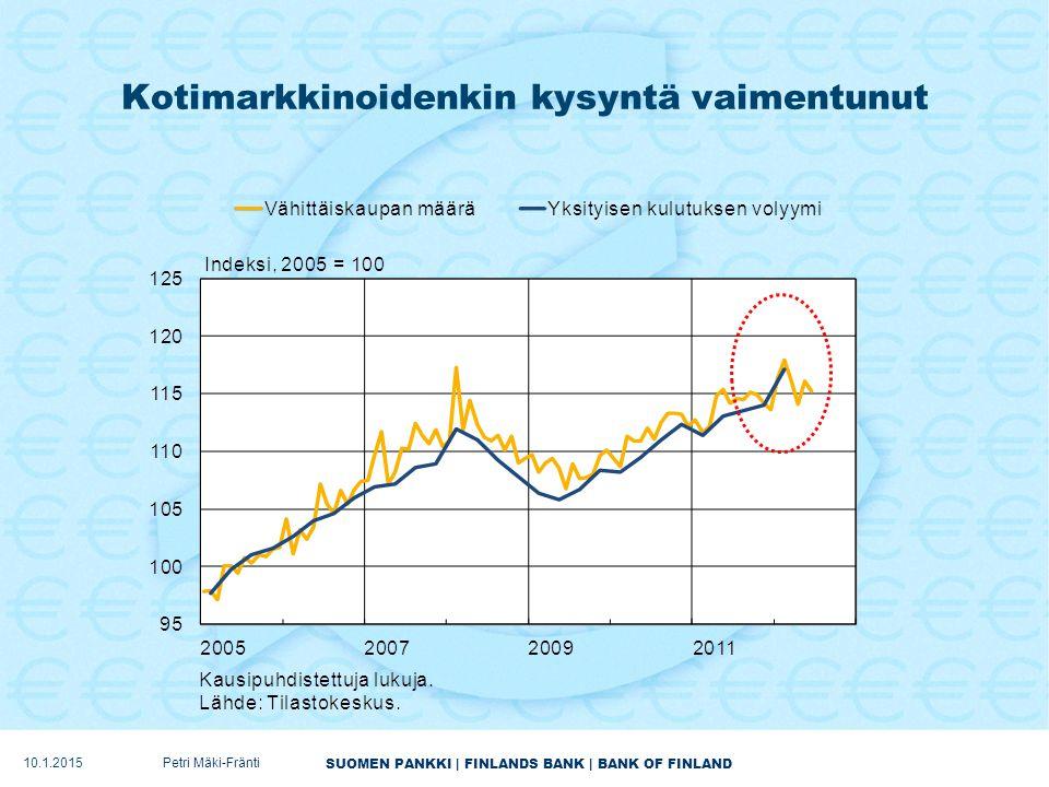 SUOMEN PANKKI | FINLANDS BANK | BANK OF FINLAND Kotimarkkinoidenkin kysyntä vaimentunut 10.1.2015Petri Mäki-Fränti