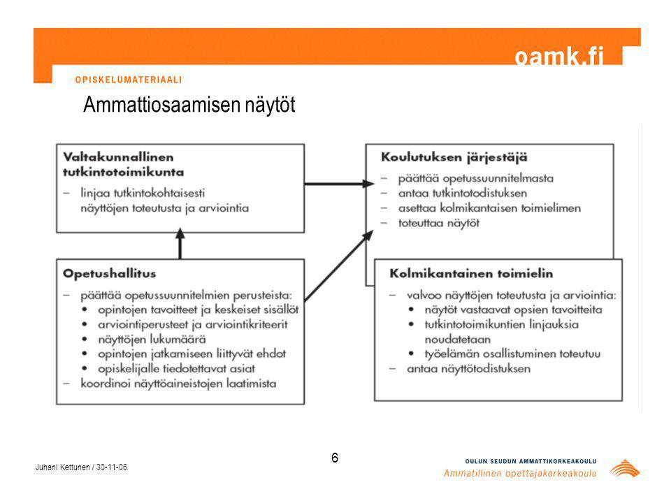 Juhani Kettunen / 30-11-06 6 Ammattiosaamisen näytöt