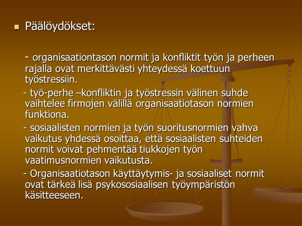 Päälöydökset: Päälöydökset: - organisaationtason normit ja konfliktit työn ja perheen rajalla ovat merkittävästi yhteydessä koettuun työstressiin.