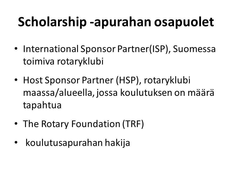 Scholarship -apurahan osapuolet International Sponsor Partner(ISP), Suomessa toimiva rotaryklubi Host Sponsor Partner (HSP), rotaryklubi maassa/alueella, jossa koulutuksen on määrä tapahtua The Rotary Foundation (TRF) koulutusapurahan hakija