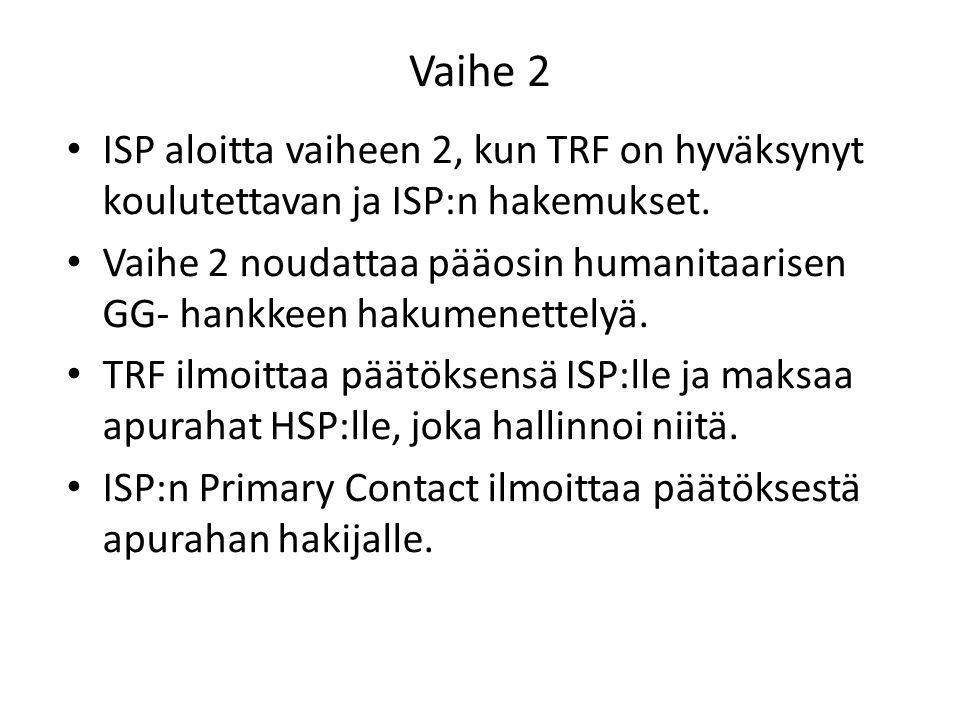 Vaihe 2 ISP aloitta vaiheen 2, kun TRF on hyväksynyt koulutettavan ja ISP:n hakemukset.