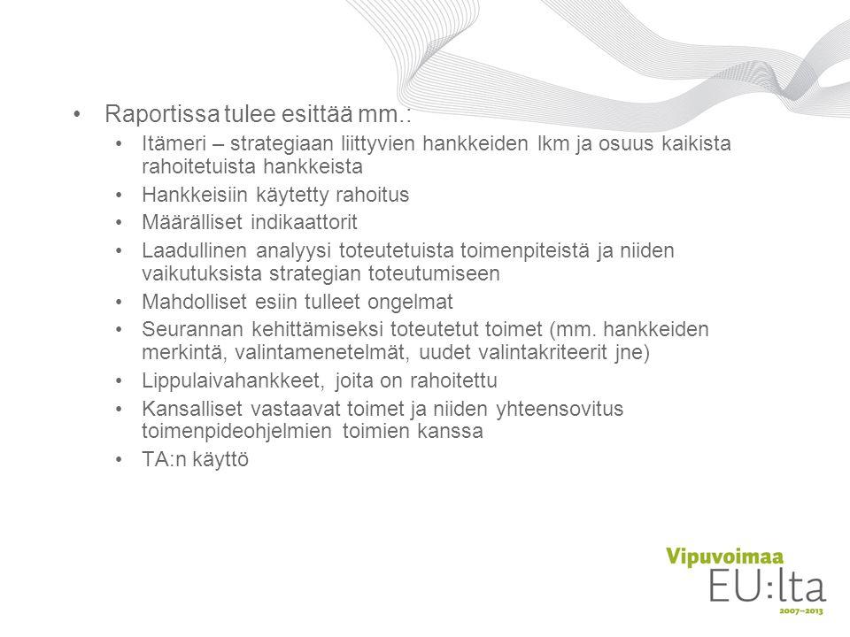 Raportissa tulee esittää mm.: Itämeri – strategiaan liittyvien hankkeiden lkm ja osuus kaikista rahoitetuista hankkeista Hankkeisiin käytetty rahoitus Määrälliset indikaattorit Laadullinen analyysi toteutetuista toimenpiteistä ja niiden vaikutuksista strategian toteutumiseen Mahdolliset esiin tulleet ongelmat Seurannan kehittämiseksi toteutetut toimet (mm.