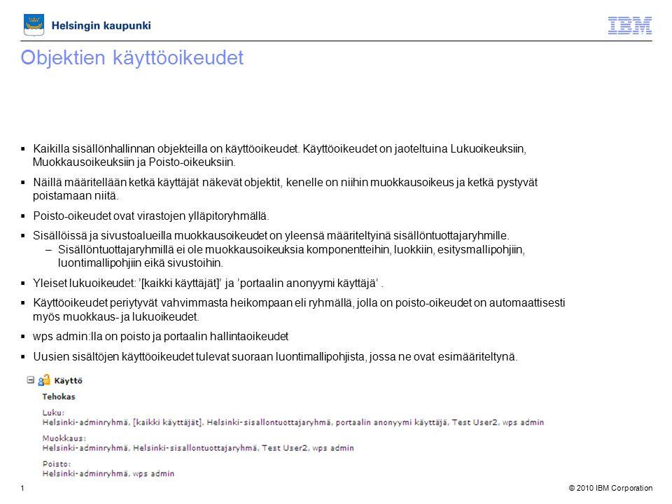 © 2010 IBM Corporation1 Objektien käyttöoikeudet  Kaikilla sisällönhallinnan objekteilla on käyttöoikeudet.