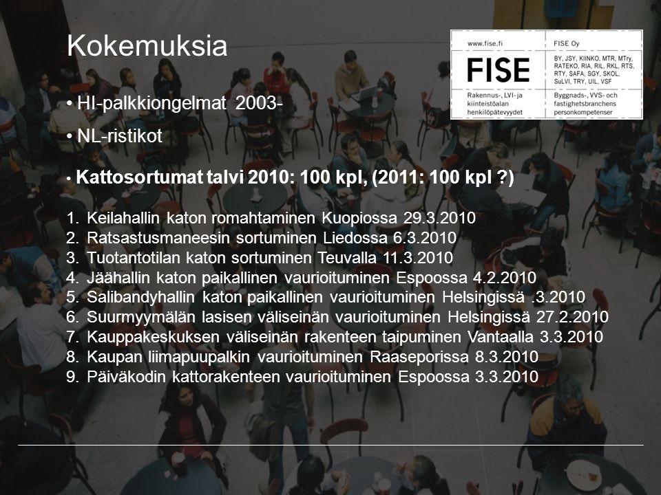 Kokemuksia HI-palkkiongelmat 2003- NL-ristikot Kattosortumat talvi 2010: 100 kpl, (2011: 100 kpl ) 1.Keilahallin katon romahtaminen Kuopiossa 29.3.2010 2.Ratsastusmaneesin sortuminen Liedossa 6.3.2010 3.Tuotantotilan katon sortuminen Teuvalla 11.3.2010 4.Jäähallin katon paikallinen vaurioituminen Espoossa 4.2.2010 5.Salibandyhallin katon paikallinen vaurioituminen Helsingissä.3.2010 6.Suurmyymälän lasisen väliseinän vaurioituminen Helsingissä 27.2.2010 7.Kauppakeskuksen väliseinän rakenteen taipuminen Vantaalla 3.3.2010 8.Kaupan liimapuupalkin vaurioituminen Raaseporissa 8.3.2010 9.Päiväkodin kattorakenteen vaurioituminen Espoossa 3.3.2010