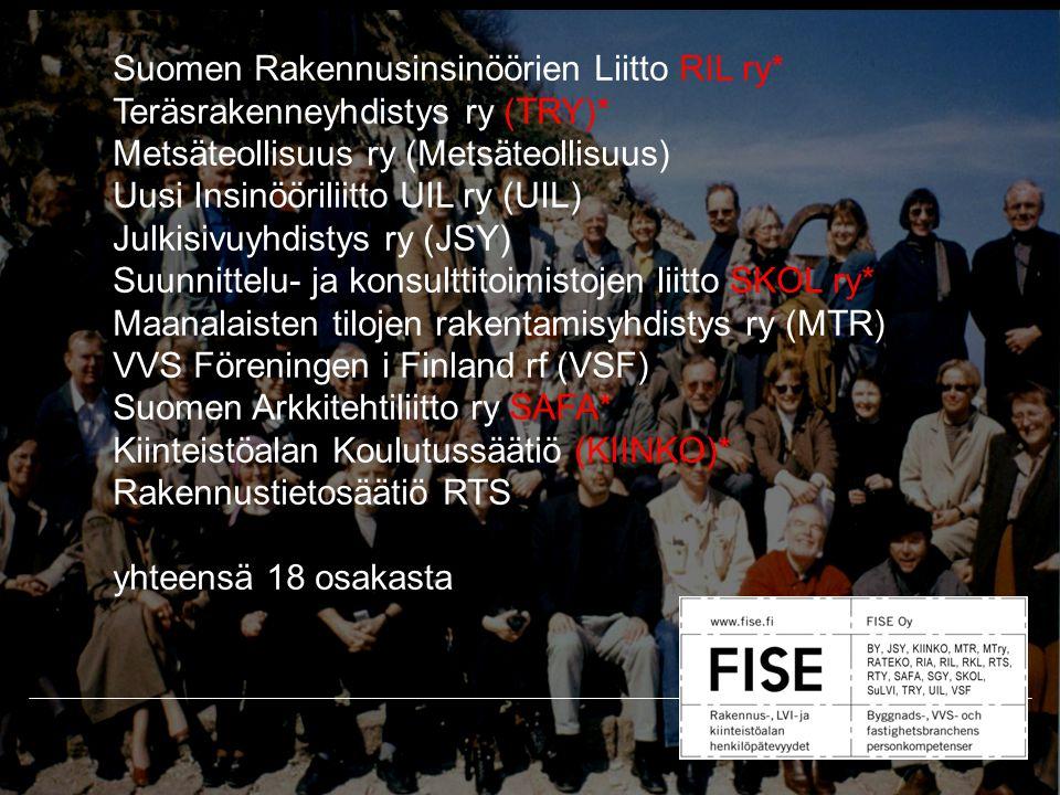 Suomen Rakennusinsinöörien Liitto RIL ry* Teräsrakenneyhdistys ry (TRY)* Metsäteollisuus ry (Metsäteollisuus) Uusi Insinööriliitto UIL ry (UIL) Julkisivuyhdistys ry (JSY) Suunnittelu- ja konsulttitoimistojen liitto SKOL ry* Maanalaisten tilojen rakentamisyhdistys ry (MTR) VVS Föreningen i Finland rf (VSF) Suomen Arkkitehtiliitto ry SAFA* Kiinteistöalan Koulutussäätiö (KIINKO)* Rakennustietosäätiö RTS yhteensä 18 osakasta