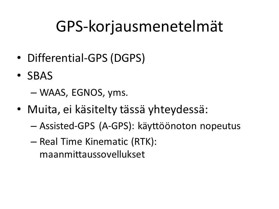 GPS-korjausmenetelmät Differential-GPS (DGPS) SBAS – WAAS, EGNOS, yms.