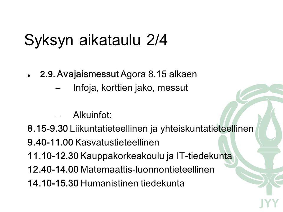 Syksyn aikataulu 2/4 2.9.
