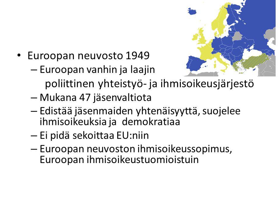Euroopan neuvosto 1949 – Euroopan vanhin ja laajin poliittinen yhteistyö- ja ihmisoikeusjärjestö – Mukana 47 jäsenvaltiota – Edistää jäsenmaiden yhtenäisyyttä, suojelee ihmisoikeuksia ja demokratiaa – Ei pidä sekoittaa EU:niin – Euroopan neuvoston ihmisoikeussopimus, Euroopan ihmisoikeustuomioistuin