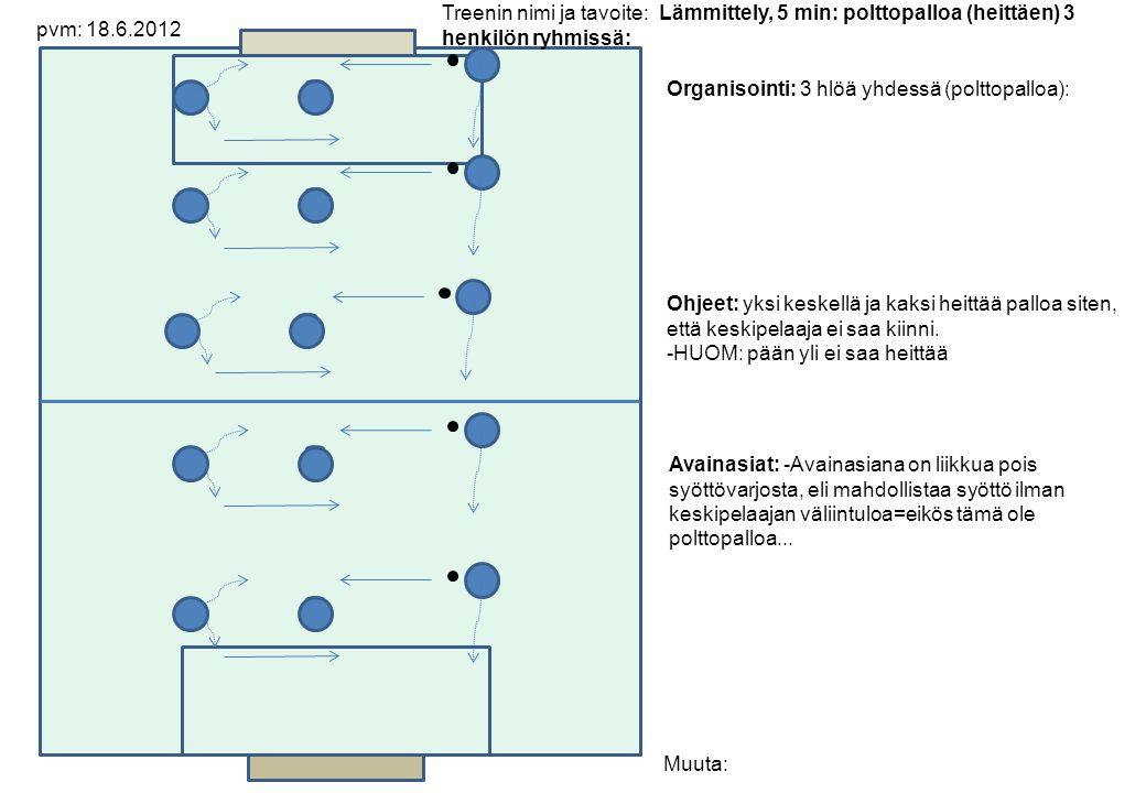Organisointi: 3 hlöä yhdessä (polttopalloa): Ohjeet: yksi keskellä ja kaksi heittää palloa siten, että keskipelaaja ei saa kiinni.
