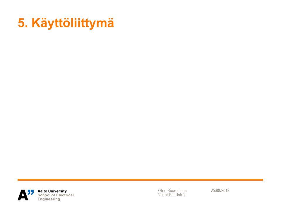 5. Käyttöliittymä Otso Saarentaus Valter Sandström 25.09.2012