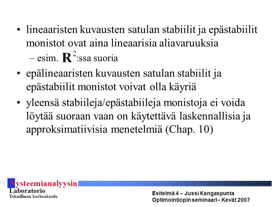 S ysteemianalyysin Laboratorio Teknillinen korkeakoulu Esitelmä 4 – Jussi Kangaspunta Optimointiopin seminaari - Kevät 2007 lineaaristen kuvausten satulan stabiilit ja epästabiilit monistot ovat aina lineaarisia aliavaruuksia –esim.