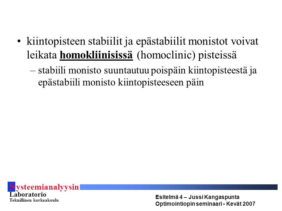 S ysteemianalyysin Laboratorio Teknillinen korkeakoulu Esitelmä 4 – Jussi Kangaspunta Optimointiopin seminaari - Kevät 2007 kiintopisteen stabiilit ja epästabiilit monistot voivat leikata homokliinisissä (homoclinic) pisteissä –stabiili monisto suuntautuu poispäin kiintopisteestä ja epästabiili monisto kiintopisteeseen päin