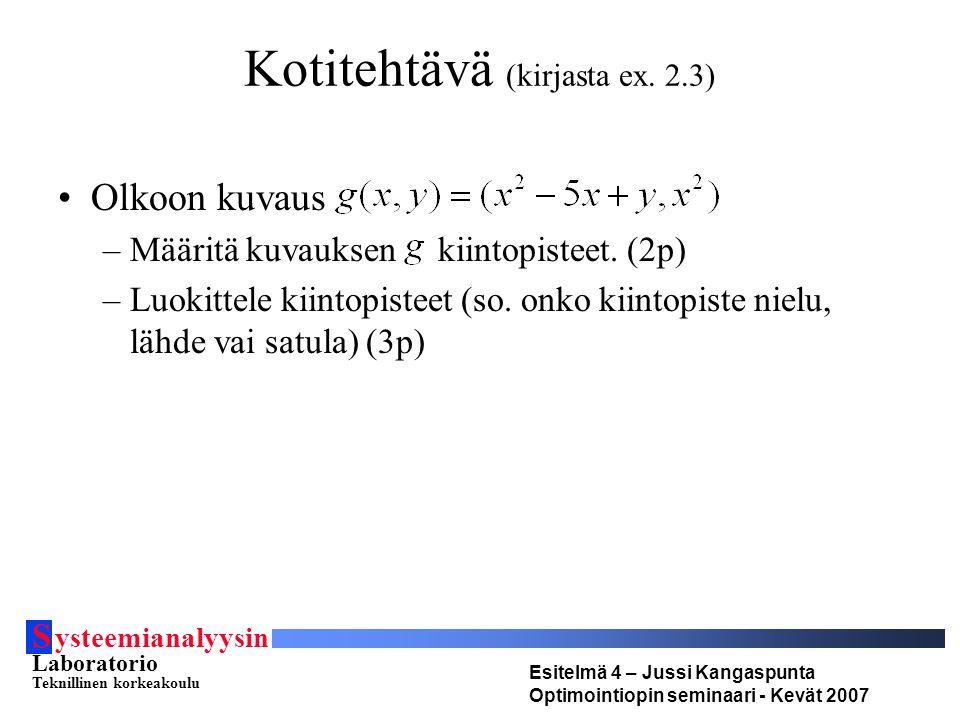S ysteemianalyysin Laboratorio Teknillinen korkeakoulu Esitelmä 4 – Jussi Kangaspunta Optimointiopin seminaari - Kevät 2007 Kotitehtävä (kirjasta ex.
