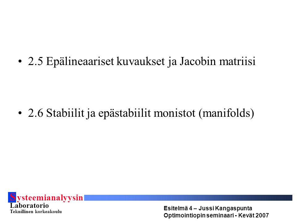 S ysteemianalyysin Laboratorio Teknillinen korkeakoulu Esitelmä 4 – Jussi Kangaspunta Optimointiopin seminaari - Kevät 2007 2.5 Epälineaariset kuvaukset ja Jacobin matriisi 2.6 Stabiilit ja epästabiilit monistot (manifolds)