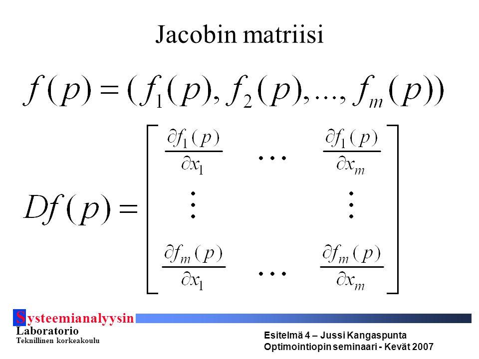 S ysteemianalyysin Laboratorio Teknillinen korkeakoulu Esitelmä 4 – Jussi Kangaspunta Optimointiopin seminaari - Kevät 2007 Jacobin matriisi