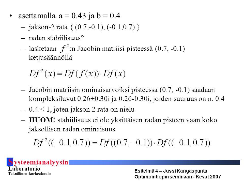 S ysteemianalyysin Laboratorio Teknillinen korkeakoulu Esitelmä 4 – Jussi Kangaspunta Optimointiopin seminaari - Kevät 2007 asettamalla a = 0.43 ja b = 0.4 –jakson-2 rata { (0.7,-0.1), (-0.1,0.7) } –radan stabiilisuus.