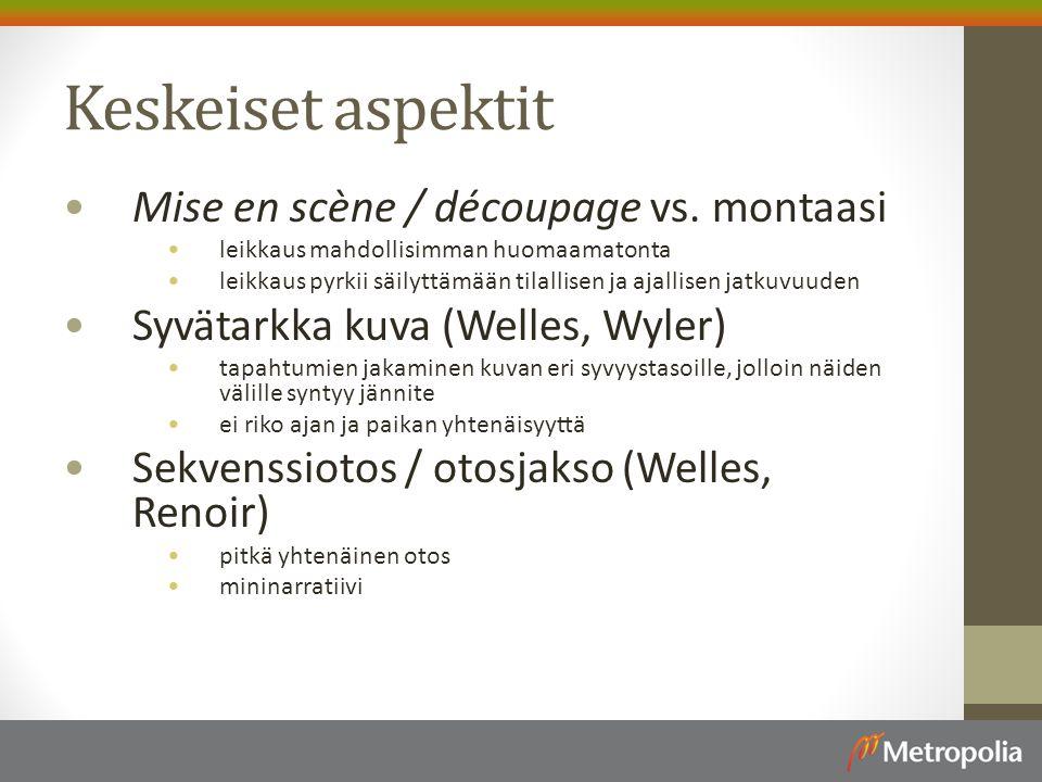 Keskeiset aspektit Mise en scène / découpage vs.
