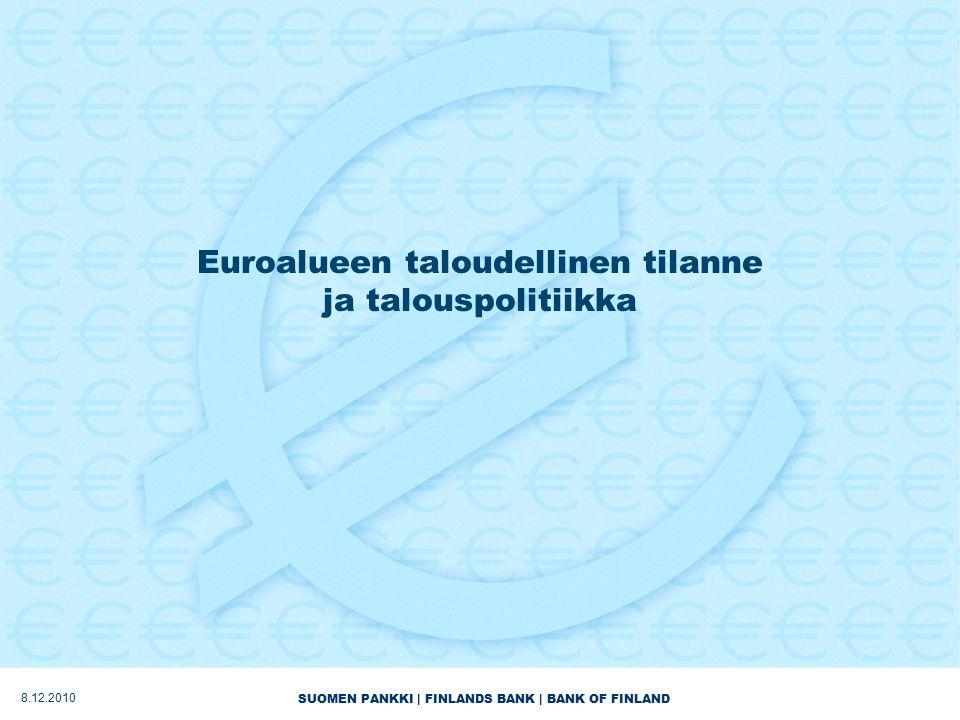 SUOMEN PANKKI | FINLANDS BANK | BANK OF FINLAND Euroalueen taloudellinen tilanne ja talouspolitiikka 8.12.2010