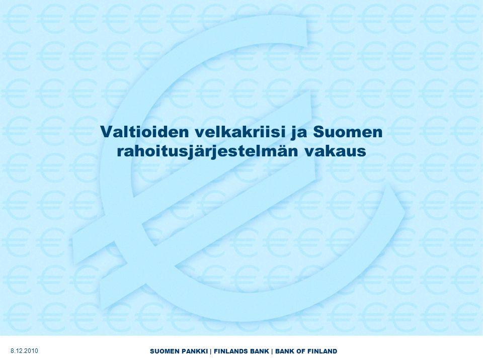 SUOMEN PANKKI | FINLANDS BANK | BANK OF FINLAND Valtioiden velkakriisi ja Suomen rahoitusjärjestelmän vakaus 8.12.2010