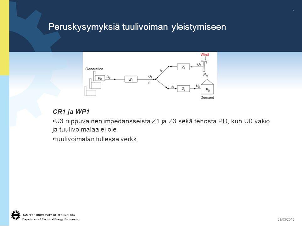 Department of Electrical Energy Engineering 7 31/03/2015 Peruskysymyksiä tuulivoiman yleistymiseen CR1 ja WP1 U3 riippuvainen impedansseista Z1 ja Z3 sekä tehosta PD, kun U0 vakio ja tuulivoimalaa ei ole tuulivoimalan tullessa verkk