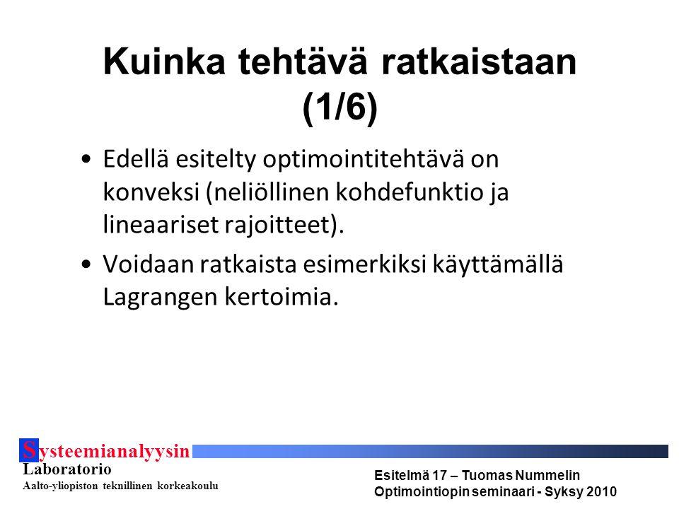 S ysteemianalyysin Laboratorio Aalto-yliopiston teknillinen korkeakoulu Esitelmä 17 – Tuomas Nummelin Optimointiopin seminaari - Syksy 2010 Kuinka tehtävä ratkaistaan (1/6) Edellä esitelty optimointitehtävä on konveksi (neliöllinen kohdefunktio ja lineaariset rajoitteet).