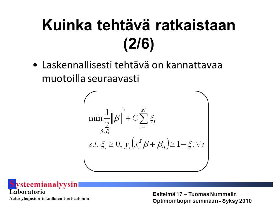 S ysteemianalyysin Laboratorio Aalto-yliopiston teknillinen korkeakoulu Esitelmä 17 – Tuomas Nummelin Optimointiopin seminaari - Syksy 2010 Kuinka tehtävä ratkaistaan (2/6) Laskennallisesti tehtävä on kannattavaa muotoilla seuraavasti
