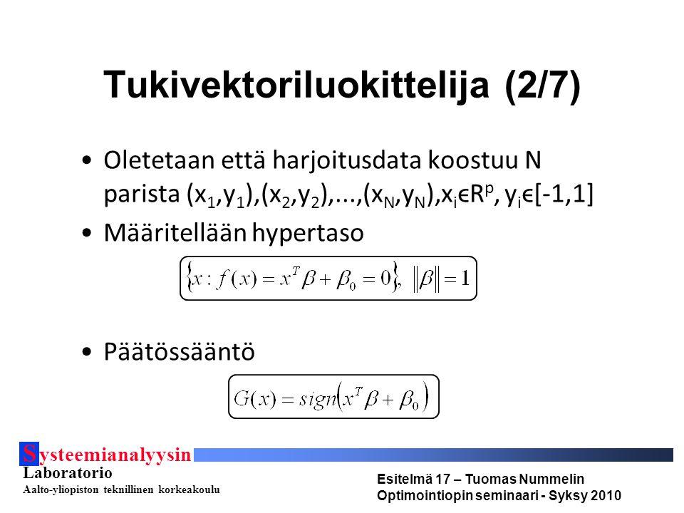 S ysteemianalyysin Laboratorio Aalto-yliopiston teknillinen korkeakoulu Esitelmä 17 – Tuomas Nummelin Optimointiopin seminaari - Syksy 2010 Tukivektoriluokittelija (2/7) Oletetaan että harjoitusdata koostuu N parista (x 1,y 1 ),(x 2,y 2 ),...,(x N,y N ),x i ϵR p, y i ϵ[-1,1] Määritellään hypertaso Päätössääntö
