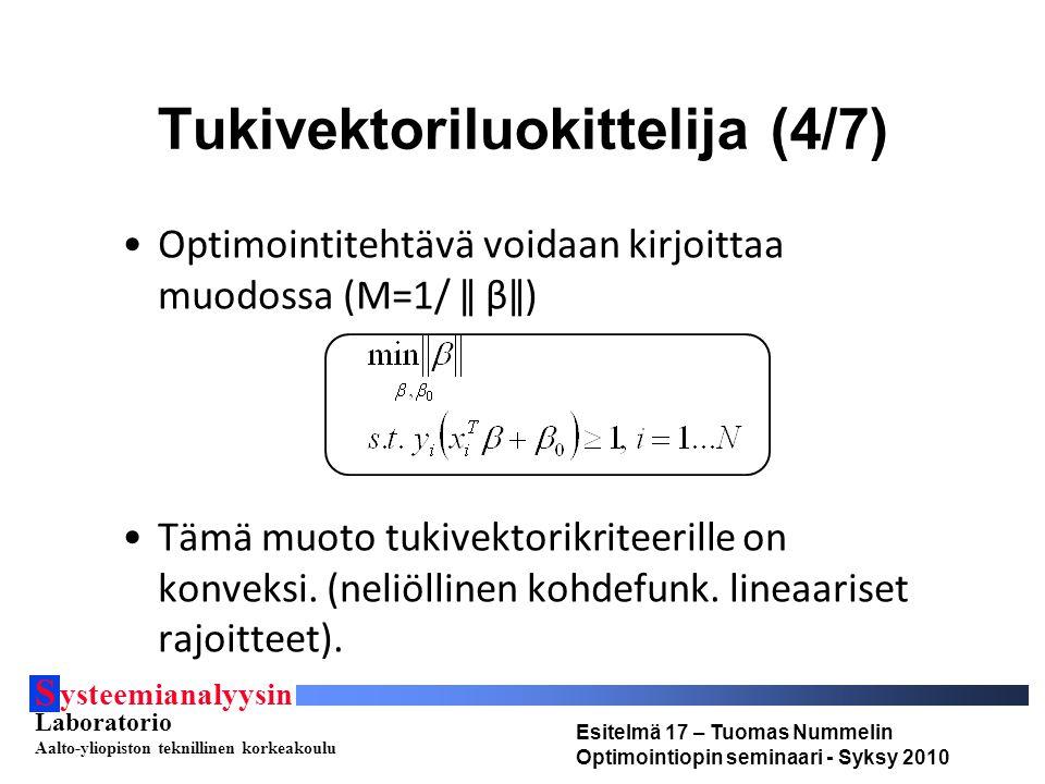 S ysteemianalyysin Laboratorio Aalto-yliopiston teknillinen korkeakoulu Esitelmä 17 – Tuomas Nummelin Optimointiopin seminaari - Syksy 2010 Tukivektoriluokittelija (4/7) Optimointitehtävä voidaan kirjoittaa muodossa (M=1/ ǁ βǁ) Tämä muoto tukivektorikriteerille on konveksi.