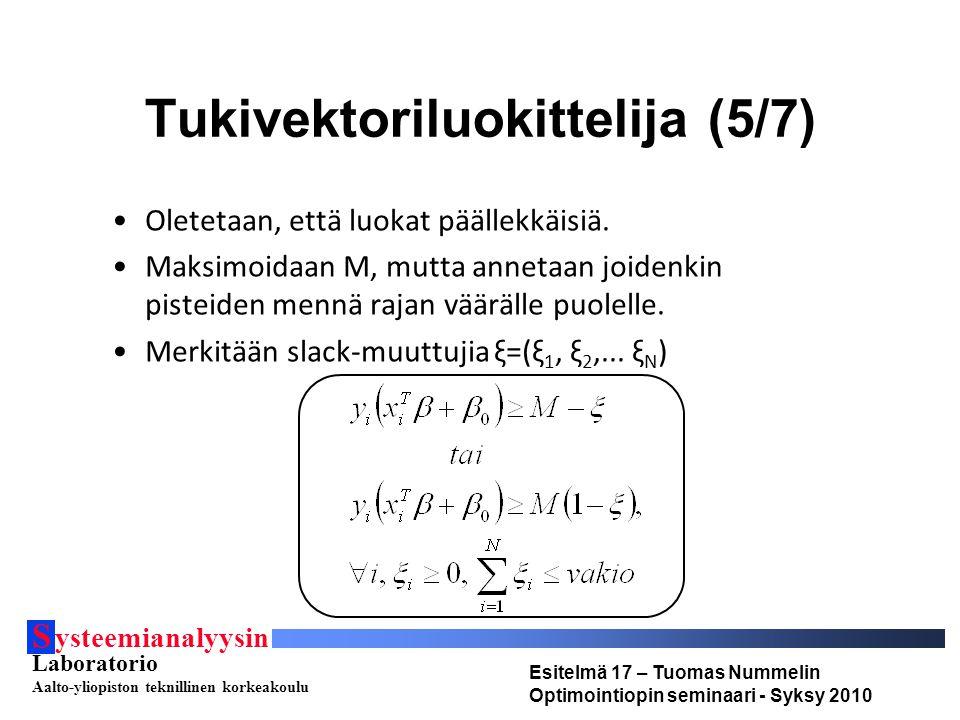 S ysteemianalyysin Laboratorio Aalto-yliopiston teknillinen korkeakoulu Esitelmä 17 – Tuomas Nummelin Optimointiopin seminaari - Syksy 2010 Tukivektoriluokittelija (5/7) Oletetaan, että luokat päällekkäisiä.