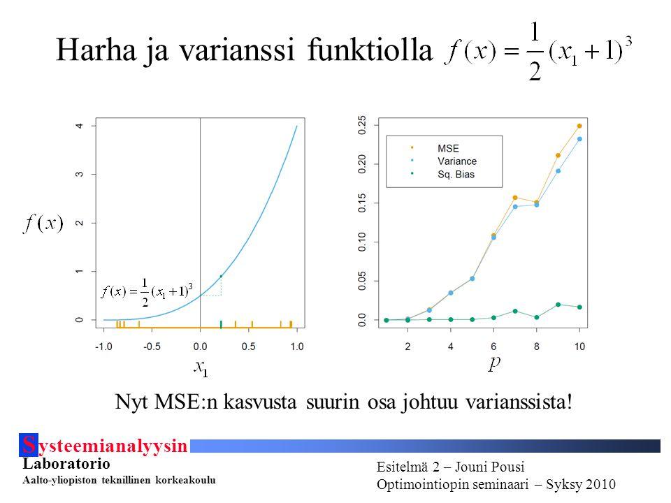 S ysteemianalyysin Laboratorio Aalto-yliopiston teknillinen korkeakoulu Esitelmä # - Esitelmöijän nimi Optimointiopin seminaari - Syksy 2010 Esitelmä 2 – Jouni Pousi Optimointiopin seminaari – Syksy 2010 Harha ja varianssi funktiolla Nyt MSE:n kasvusta suurin osa johtuu varianssista!