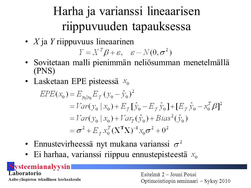 S ysteemianalyysin Laboratorio Aalto-yliopiston teknillinen korkeakoulu Esitelmä # - Esitelmöijän nimi Optimointiopin seminaari - Syksy 2010 Esitelmä 2 – Jouni Pousi Optimointiopin seminaari – Syksy 2010 Harha ja varianssi lineaarisen riippuvuuden tapauksessa X ja Y riippuvuus lineaarinen Sovitetaan malli pienimmän neliösumman menetelmällä (PNS) Lasketaan EPE pisteessä Ennustevirheessä nyt mukana varianssi Ei harhaa, varianssi riippuu ennustepisteestä