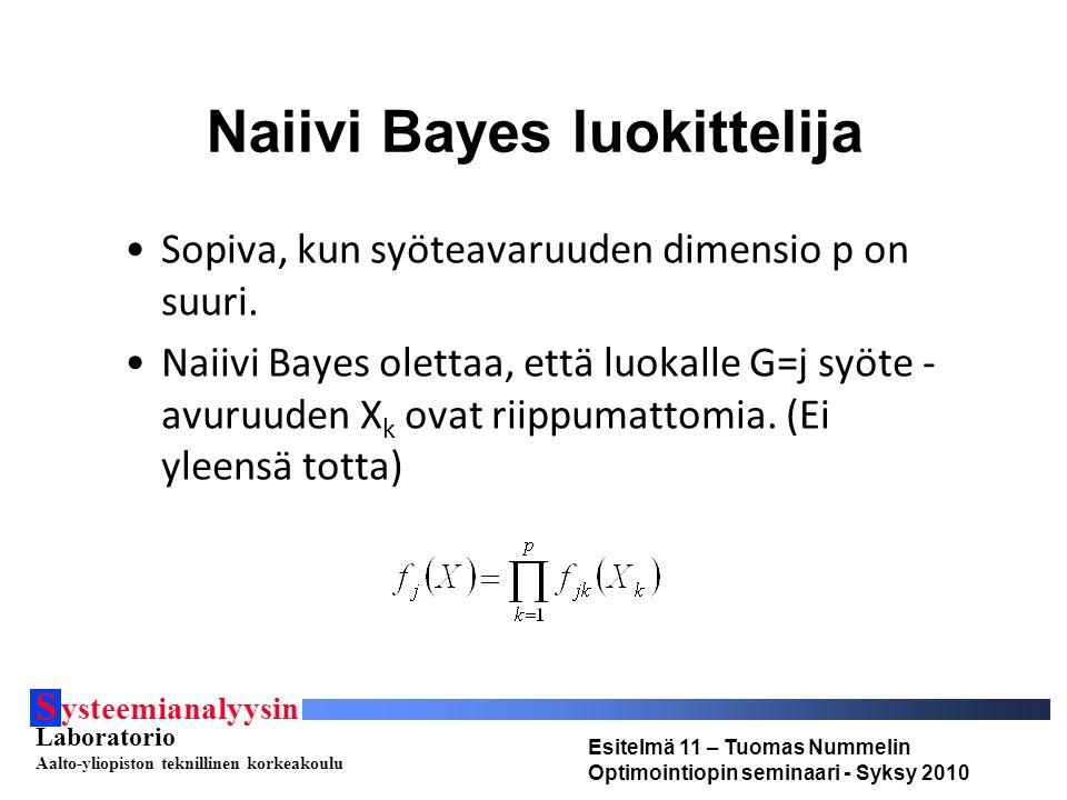 S ysteemianalyysin Laboratorio Aalto-yliopiston teknillinen korkeakoulu Esitelmä 11 – Tuomas Nummelin Optimointiopin seminaari - Syksy 2010 Naiivi Bayes luokittelija Sopiva, kun syöteavaruuden dimensio p on suuri.