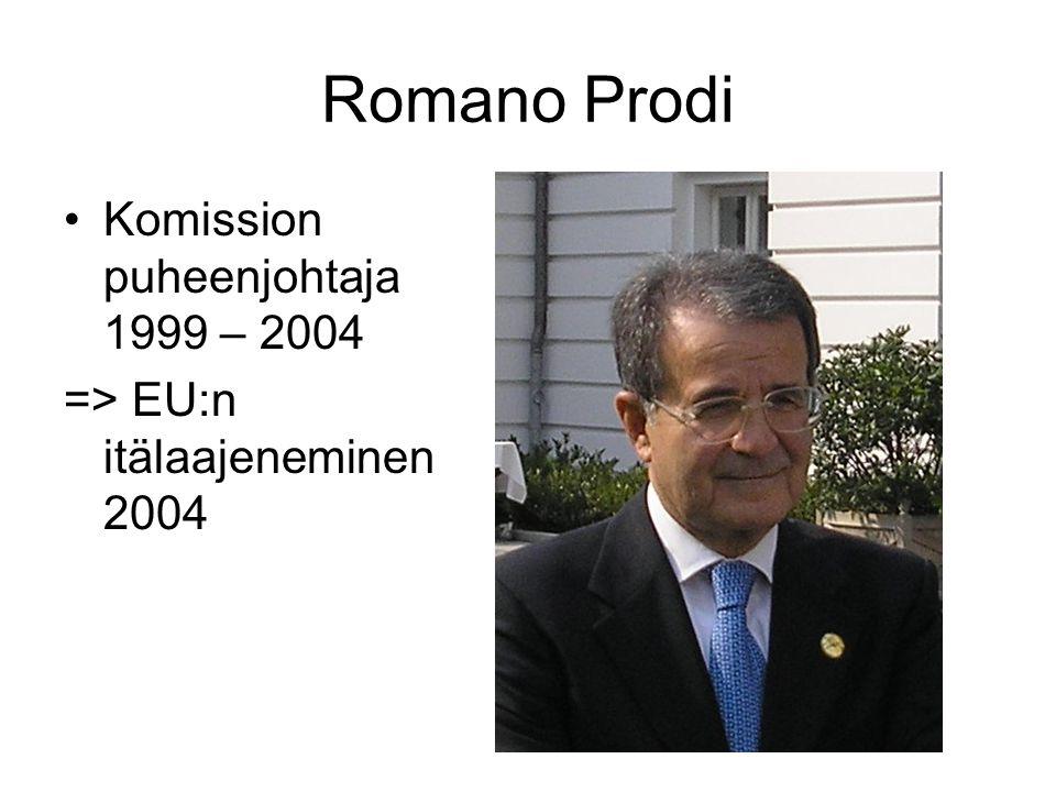 Romano Prodi Komission puheenjohtaja 1999 – 2004 => EU:n itälaajeneminen 2004
