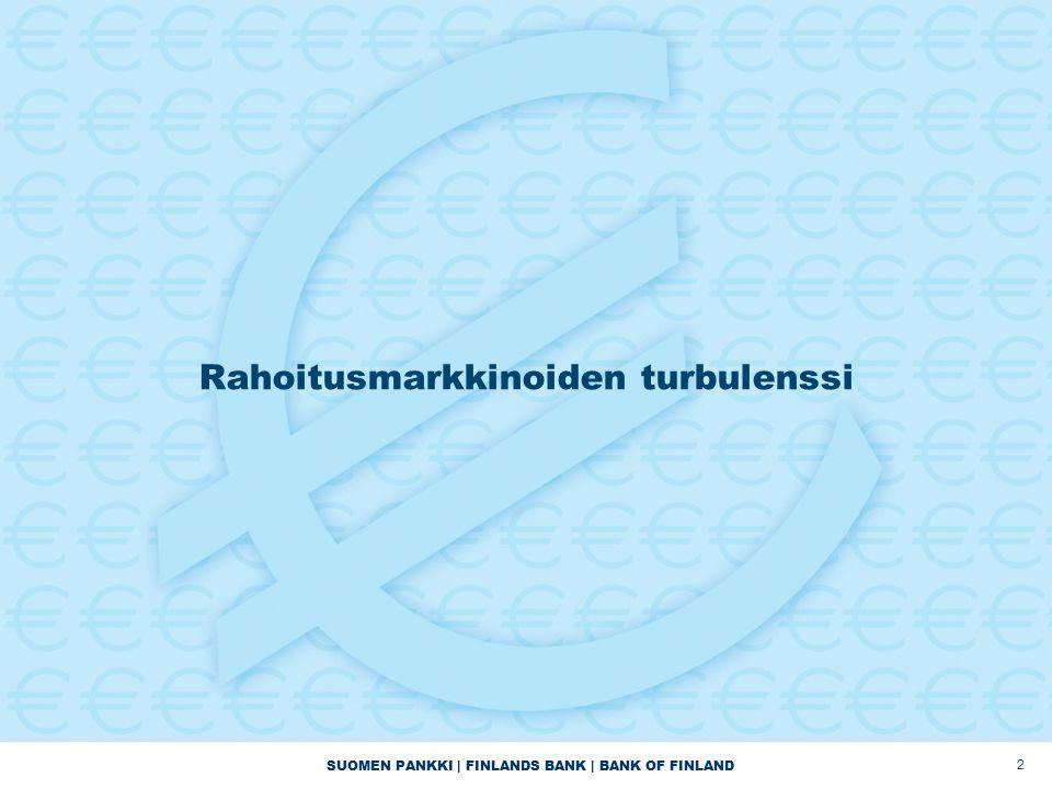 SUOMEN PANKKI | FINLANDS BANK | BANK OF FINLAND 2 Rahoitusmarkkinoiden turbulenssi