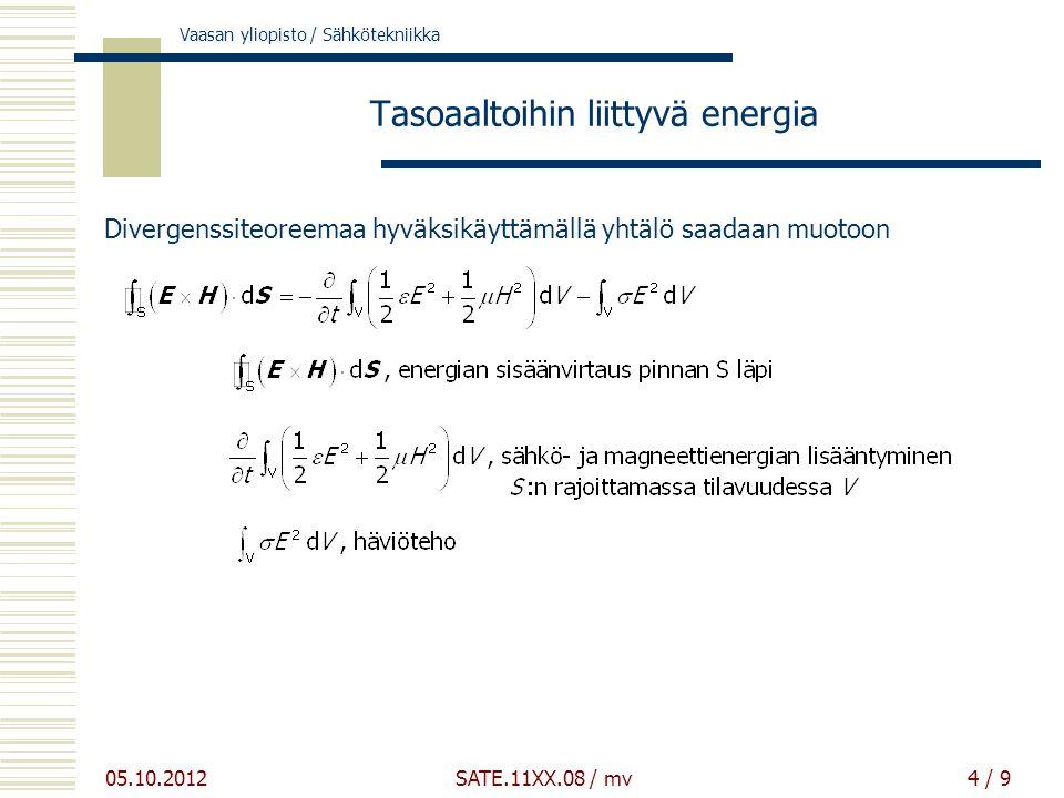 Vaasan yliopisto / Sähkötekniikka 05.10.2012 SATE.11XX.08 / mv4 / 9 Tasoaaltoihin liittyvä energia Divergenssiteoreemaa hyväksikäyttämällä yhtälö saadaan muotoon