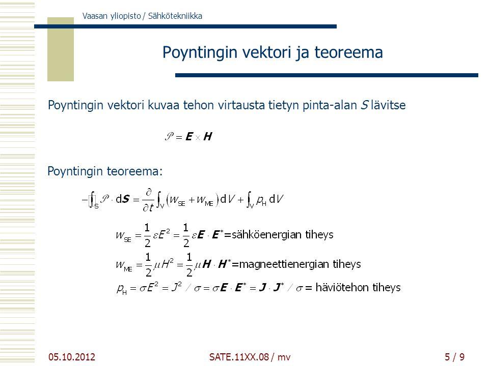 Vaasan yliopisto / Sähkötekniikka 05.10.2012 SATE.11XX.08 / mv5 / 9 Poyntingin vektori ja teoreema Poyntingin vektori kuvaa tehon virtausta tietyn pinta-alan S lävitse Poyntingin teoreema:
