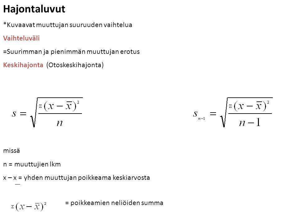 Hajontaluvut *Kuvaavat muuttujan suuruuden vaihtelua Vaihteluväli =Suurimman ja pienimmän muuttujan erotus Keskihajonta (Otoskeskihajonta) missä n = muuttujien lkm x – x = yhden muuttujan poikkeama keskiarvosta = poikkeamien neliöiden summa